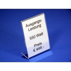 Preisblattsteller (L-Aufsteller) Acrylglas DIN A8 hoch