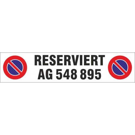 Parkplatz-Schild Aluminium 450x100x2,0mm zweizeilig beschriftet