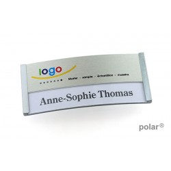 "Namensschild polar® 35 ""metal combi-print"" 80x34mm edelstahl matt"