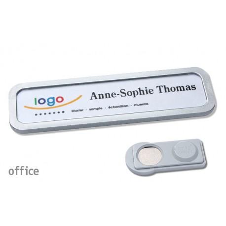 Namensschild OFFICE® 20 Farbe edelstahl matt mit Magnet standard