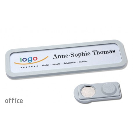 Namensschild OFFICE® 20 Farbe hellgrau mit Magnet standard