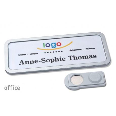 Namensschild OFFICE® 30 Farbe edelstahl matt mit Magnet standard