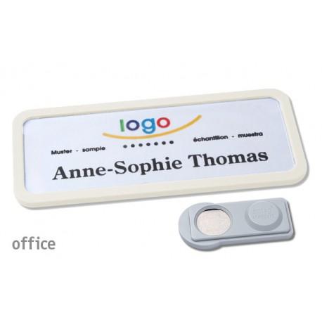Namensschild OFFICE® 30 Farbe weiss mit Magnet standard