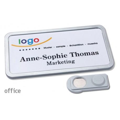 Namensschild OFFICE® 40 Farbe edelstahl matt mit Magnet standard