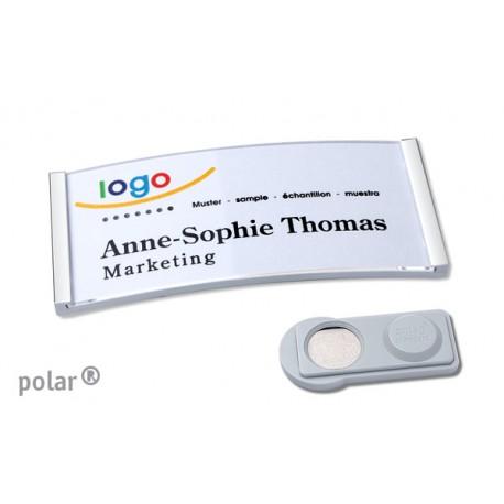 """Namensschild polar® 30 """"metal"""" 70x30mm edelstahl matt"""