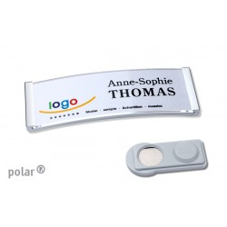 "Namensschild polar® 20 ""metal"" 68x22mm chrom hochglanz"