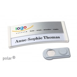 "Namensschild polar® 30 ""color"" combi-print"" 70x30mm weiss"